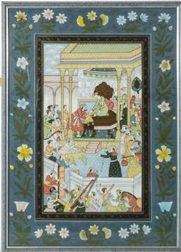 Sale 9093P - Lot 1 - Fine Mughal Style Painting of a Court Scene (55x40cm)