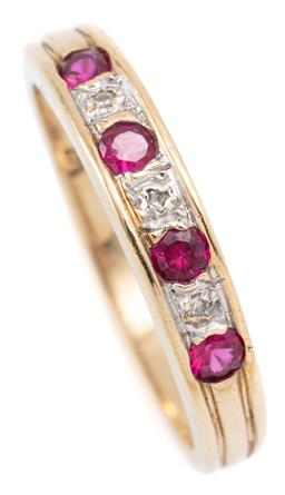 Sale 9128J - Lot 16 - A 9CT GOLD DIAMOND AND STONE SET RING; set across the top with 4 round cut synthetic rubies and 3 round brilliant cut diamonds, size...