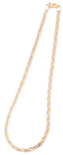 Sale 9140 - Lot 339 - A 14CT THREE TONE GOLD NECKLACE; yellow, white and pink gold flat chains plaited together to box clasp with safety catch, width 4mm,...