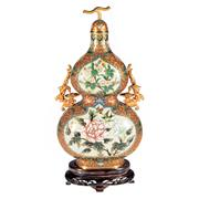 Sale 8000 - Lot 330 - A Chinese gilt and cloisonné double gourd vase with cover and carved stand.