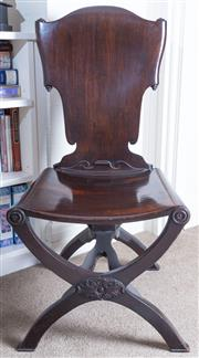 Sale 8800 - Lot 86 - A Georgian mahogany chair with scroll back design on x frame base, H 102cm