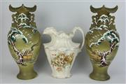 Sale 8396 - Lot 77 - Green Cherry Blossom Themed Vases with an Italian Ewer