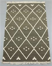 Sale 8438K - Lot 63 - Jaipur Veggie Dye Kilim Rug | 152x92cm, Pure Wool, Handwoven in Rajasthan, India with a pure NZ wool composition. Fully reversible d...