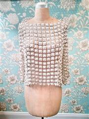 Sale 8577 - Lot 131 - A vintage faux pearl shimmery daisy cut out lace top, size 10 - 12, Condition: Very Good