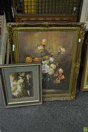 Sale 8563T - Lot 2236 - A Group (3) Artworks: C19th, Chromolithograph (AF); C17th-Style Watercolour; Still-Life Acrylic Painting (framed/ various sizes)
