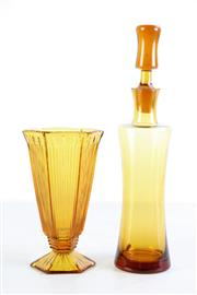 Sale 8963 - Lot 61 - Polish art glass decanter (H35cm) together with an amber coloured glass vase (H20cm)