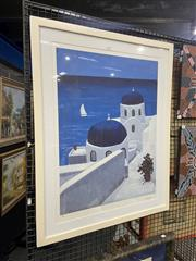 Sale 8978 - Lot 2023 - Patricia George Dome of Santorini lithograph ed. 218/700, 87 x 70cm (frame) signed