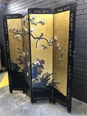 Sale 8988 - Lot 1001 - Oriental Four Panel Dressing Screen Depicting Blossoms and Swallows (Each Panel - H: 183 x W: 40cm)