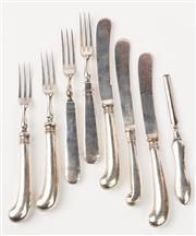 Sale 9048A - Lot 45 - A group of silver flat ware including two pairs of silver pistol grip fruit knives and forks, marked London J.S, a single butter kni...