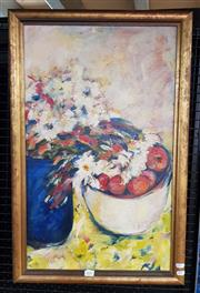 Sale 9077 - Lot 2031 - Artist unknown, Still Life, Summer Fruit & Flowers, oil on canvas, frame: 77 x 57 cm, unsigned
