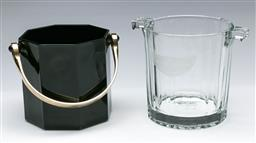 Sale 9164 - Lot 223 - A Moet Chandon ice bucket together with a black glass example (H:13cm and 12cm)