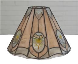 Sale 9166 - Lot 1014 - Early floral themed leadlight lamp shade (h25 x d35cm)