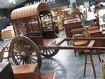 Sale 7919A - Lot 1722 - Chinese Carved Timber Rickshaw with A Frame Support, Bamboo Canopy & Lattice Sides