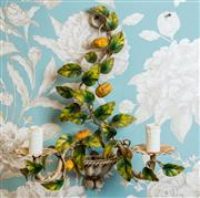 Sale 8500A - Lot 13 - A rare original vintage kumquat fruit 2 light tole sconce - Condition: Rewired in working order - Measurements: 37cm high x 30cm wid...