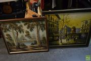 Sale 8497 - Lot 2041 - 2 Artworks: Burns, Country Cottage Acrylic on Board with Charrier Moulin Rouge Acrylic on Board