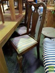 Sale 8545 - Lot 1036 - Set of Six Timber Dining Chairs with Upholstered Seat & Cabriole Legs to Front