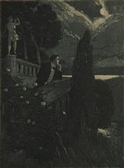Sale 8592A - Lot 5041 - Lionel Lindsay (1874 - 1961) - Untitled (Gentleman in the Night) 16 x 11.5cm