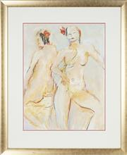 Sale 8762 - Lot 2024 - Val Landa (1940 - ) - Two Nudes with Red Flowers 63 x 48cm (frame: 91 x 75cm)