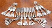Sale 8815A - Lot 50 - A French Silver-plate cutlery setting by M W Glasenapp (Liban) marked 84 comprising 12 dinner forks, 12 side forks, 12 teaspoons, 12...