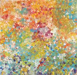 Sale 9099A - Lot 5035 - Janet Golder Kngwarreye (1973 - ) - Yam Flower 60 x 58 cm (stretched & ready to hang)