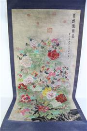 Sale 8944T - Lot 624 - Floral themed large Chinese scroll (W75cm)