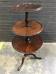 Sale 9031 - Lot 1028 - George III Mahogany Round Dumbwaiter, of three revolving graduated tiers, on gun barrel supports & outswept legs (some cracks to tie...