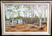 Sale 9058 - Lot 2019 - Artist Unknown Timberyard, oil on canvas on board, frame: 61 x 88 cm, no visible markings,