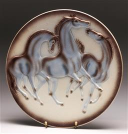 Sale 9136 - Lot 261 - A West German horse themed charger (Dia 33cm)