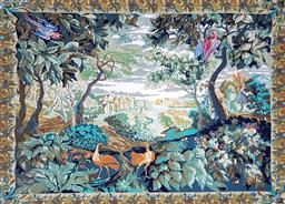 Sale 9196 - Lot 1017A - French Country Scene Tapestry, with a vista through dense forest to a chateau in the distance (h:125 x w:152cm)