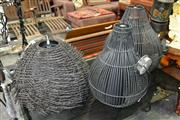 Sale 8115 - Lot 1403 - 3 Wicker Shade Hanging Lights