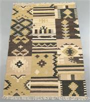 Sale 8438K - Lot 65 - Jaipur Veggie Dye Kilim Rug   180x120cm, Pure Wool, Handwoven in Rajasthan, India with a pure NZ wool composition. Fully reversible ...