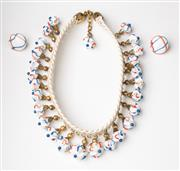 Sale 8499A - Lot 45 - A good quality French 1950s woven plastic necklace neck choker with red, white & blue glass beads and matching clip on earrings stam...