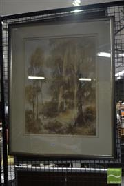 Sale 8548 - Lot 2146 - Brian McGuffe - The Gumtrees 59 x 64cm (frame size)