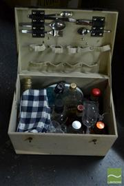 Sale 8548 - Lot 2373 - Picnic Box Containing Spirits, Plates & Cutlery