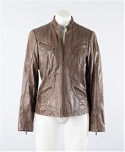 Sale 8760F - Lot 182 - An olive green leather jacket by Yarra Trail with twin pockets to front and panelled stitching, size 10