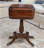 Sale 8815A - Lot 56 - A regency style rosewood sewing box of quadruped form on octagonal base (damages to leg) Height x 74cm, Width 47cm, Depth 34cm