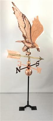 Sale 8857H - Lot 6 - A Copper Eagle in Flight  Weathervane Of Good Quality with adjustable roof mount ,Size: 140 cm HX 60 cm Widest x 56 cm W At Tip To T...