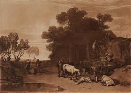 Sale 9150 - Lot 553 - J M W TURNER (1775 - 1851) The Straw Yard etching 18 x 25 cm (frame: 38 x 46 x 2 cm) published by C. Turner, London, 1808. Provenanc...