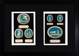 Sale 9130H - Lot 45 - Two framed book plates by Carol Gregori after Io. Dom. Campiglini depicting blue ground plaques, with Latin inscriptions under each...
