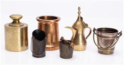Sale 9185E - Lot 117 - A group of miniature metal wares including bucket form match holder, coffee pot