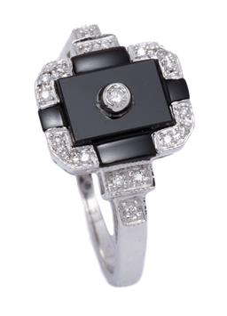 Sale 9209J - Lot 393 - A DECO STYLE DIAMOND AND ONYX RING; 9ct white gold geometric top and shoulders set with onyx plaques and round brilliant cut diamond...