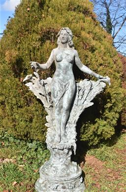 Sale 9200P - Lot 66 - A large bronze statue of a lady with outstretched arms, with fine aged patina, Height 210cm x  Width 115cm