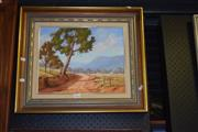 Sale 8419T - Lot 2062 - Michelle Gunner - Road Through Yarramalong Valley, oil on board, 29.5 x x37cm, signed lower left