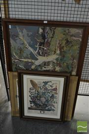 Sale 8548 - Lot 2145 - Group of (3) Assorted Artworks incl. Australian Scene Tapestry; August Flowers Print, & Copper Relief Elephant on Canvas