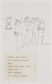 Sale 8722A - Lot 5005 - Frank Hinder (1906 - 1992) - These dear bods... 1946 17.5 x 10.5cm