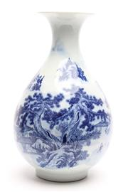 Sale 8732W - Lot 78 - Blue and White Vase with Village Scene ( H 32cm)