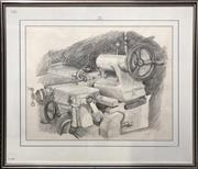 Sale 8753 - Lot 2063 - Val Landa (1940 - ) - Industrial Still Life pencil on paper, 71.5 x 84cm (frame) signed and dated lower right -