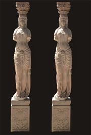 Sale 8857H - Lot 7 - A Pair of Impressive Carved Pink Marble Caryatid Columns Depicting Female Figures ,Each Column Consist Of 3 Pieces (Capital Top, Col...