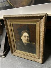 Sale 8878 - Lot 2090 - C19th Hand-Painted Portrait of a Matriarch, in antique frame
