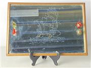Sale 8980 - Lot 66 - Art deco style mirrored tray featuring a ship (41cm x 28cm)